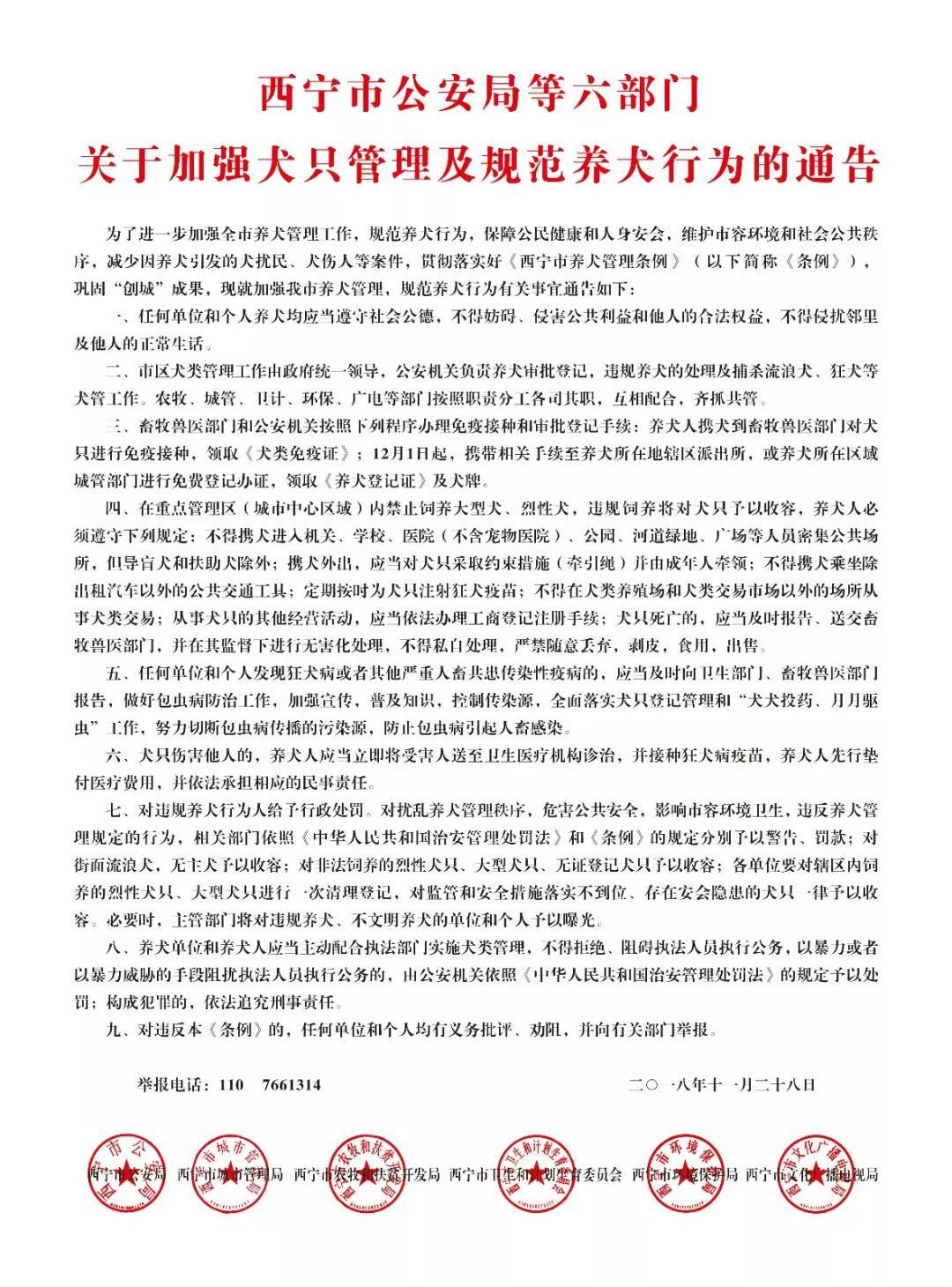 狗狗不可任性养!西宁市六部门发布犬只管理通告