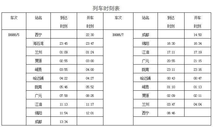 附时刻表,西宁车站加开多趟旅客列车